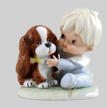 Porcelain HOMCO Vintage Figurine Little Toddler & Puppy Dog   - $6.25