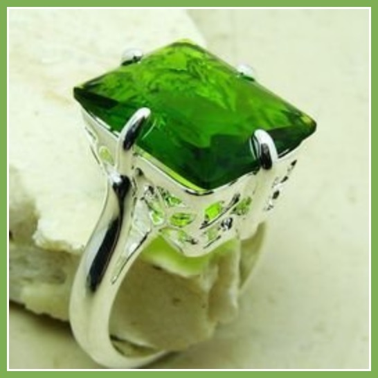 Olive Emerald Cut Green Quartz Crystal Antique Style Sterling Silver Signet Ring