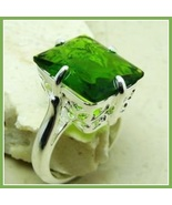 Olive Emerald Cut Green Quartz Crystal Antique Style Sterling Silver Sig... - $113.95