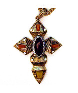 Large Antiqued Finish Goldtone Faux Gemstone Cross Pendant With 30 Inch ... - $14.00