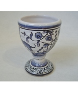 Egg Cup Estrela De Conimbriga Portugal Pottery Vintage Floral Flowers Dog Signed - £39.97 GBP