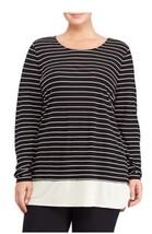 Lauren Ralph Lauren Plus Size Striped Jersey Top (1X, Black Milk) - $51.70
