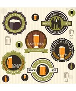 Collection of Beer Badges and Labels in Vintage Style-Digital clipart - $4.00