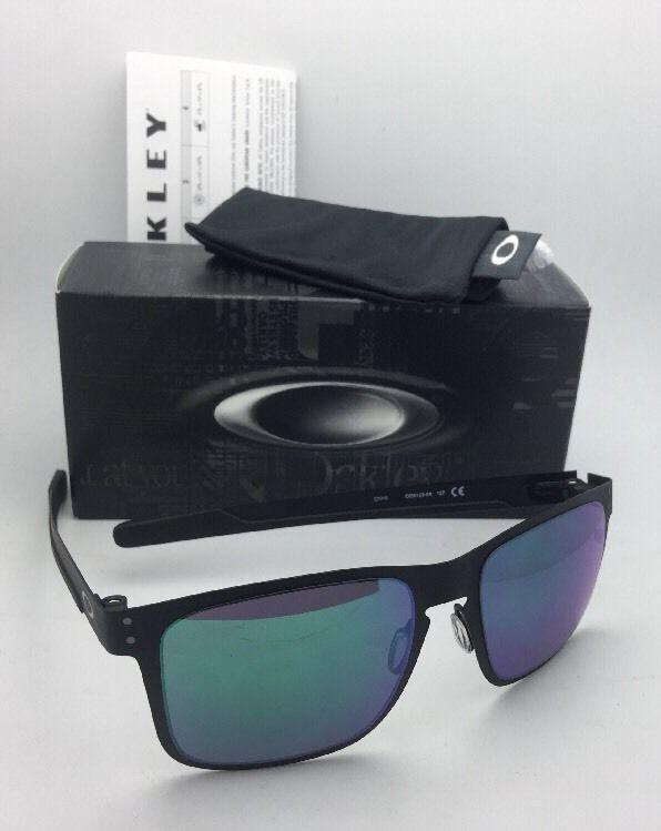 New Oakley Sunglasses HOLBROOK METAL OO4123-04 Matte Black w/Jade Iridium Lenses