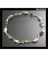 Vintage STERLING SILVER DOLPHIN BRACELET with Multi Gemstones - 7 1/2 in... - $65.00