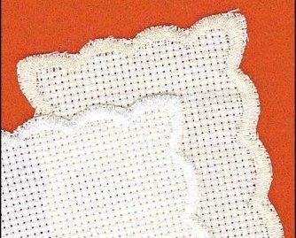 White Basic  Bookmark 14ct aida scalloped edge 1.75x6.5 Yarn Tree