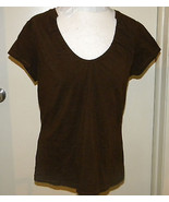 Ashley Stewart Plus Size 14 / 16 L Brown Short Sleeve low scoop neck Kni... - $3.99