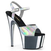"PLEASER Sexy 7"" Heel Dancer Stripper Chrome Platform Silver Hologram Wom... - $61.95"
