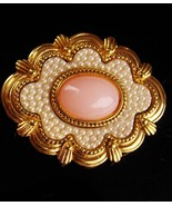 Antique style Victorian brooch - edwardian seed pearl pin - rose quartz ... - $65.00