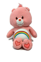 "2005 TCFC Care Bears Cheer Bear Pink Rainbow On Tummy Soft 13"" Plush Animal - $9.85"