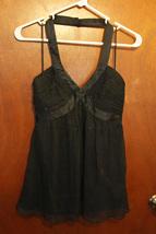 Express Black Silk Halter Top w/ Black Rhinestones - Size 0 - $11.99