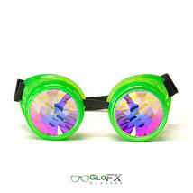 GloFX Glow Green Kaleidoscope Goggle Laser Etched Hard Plastic Eyewear Raven Eye - $51.99