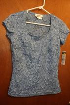 NWT A.Byer Blue T-Shirt w/ Sequin Details - Size Juniors Medium - $13.99