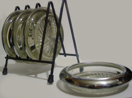 Set of 4 Vintage Park Sherman Silver Plated & Crystal Coasters with Stor... - $40.00