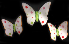 Set of 3 Handpainted Red, Green and Pink Polka Dot Ceramic Butterfly Wal... - $19.00