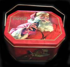 Coca Cola Oblong Octogon Santa, Christmas Tin with Handle - $7.50