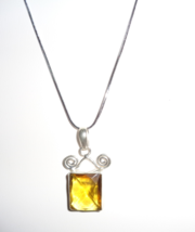 High Quality Silver Plated Yellow Glass Pendant On 18K White Gold Plated... - $6.99