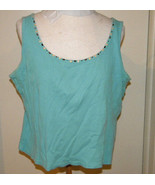 JH Collectibles Women's SZ XL 14 16 cotton soft ribbed knit blue beaded ... - $3.99