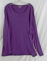 Women's Plus Size Scoop Neck Small Ribbed Sweater L/S in Dark Plum 26/28 - $14.79