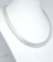 Sterling Silver Domed Mesh Adjustable Choker Necklace 16 to 18 inch - $89.00