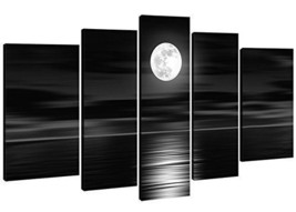 NEW 5-Piece Full Moon Night Wood Framed Canvas ... - $54.68