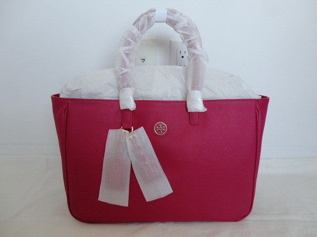 Primary image for NWT AUTH TORY BURCH Carnation Red Coated Canvas Roslyn Tote Handbag Purse $395
