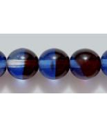 8mm Czech Round Druk Glass Beads, Three Tone Transp Cobalt Garnet Red,Cr... - $2.25