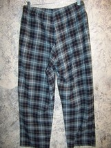 Fleece plaid sleep lounge pj pajama bottoms pants M gray black warm boxe... - $19.95