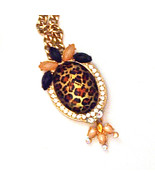 Faceted Leopard Print Pendant With Faux Gemstone Accents-16 Inch Goldton... - $12.00
