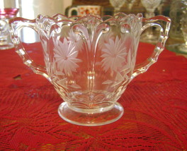 Small Vintage Clear Floral Etched Glass Open Sugar w/ 2 Ribbed Handles Ex Cond - $12.86