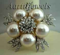 Victorian 1.62ct Rose Cut Diamond Pearl Halloween Wedding Brooch Vintage - $635.59