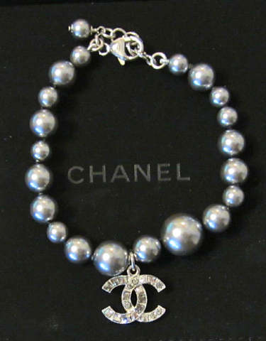 100% Authentic Chanel CC Logo Crystal Gray Pearls Bracelet New