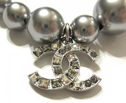 100% Authentic Chanel CC Logo Crystal Gray Pearls Bracelet New  image 4
