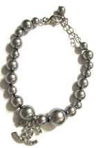 100% Authentic Chanel CC Logo Crystal Gray Pearls Bracelet New  image 3