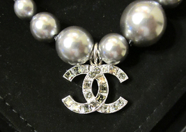 100% Authentic Chanel CC Logo Crystal Gray Pearls Bracelet New  image 5