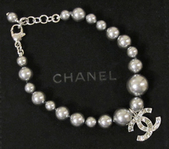 100% Authentic Chanel CC Logo Crystal Gray Pearls Bracelet New  image 2