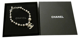 100% Authentic Chanel CC Logo Crystal Gray Pearls Bracelet New  image 6