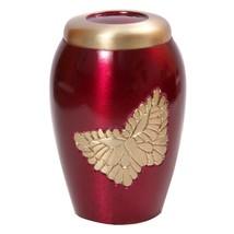 Lovely Golden Soaring Butterfly Pink Keepsake Urn for Ashes, Memorial Brass Urns - $44.40