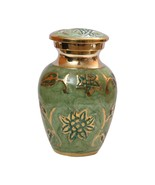 Gorgeous Green Enamel Mini Keepsake Urn, Cremation Urns for Human Ashes - $44.40