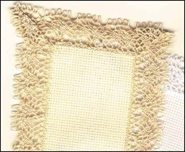 LOT 6 Ivory Lace Bookmark 18ct aida lace edge Janlynn - $16.25