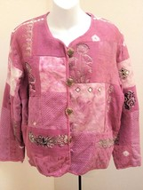 Dressbarn M Jacket Pink Tapestry Textured  Embroidered Floral New - $25.45