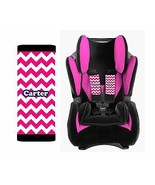 PERSONALIZED BABY TODDLER CAR SEAT STRAP COVERS HOT PINK CHEVRON NAVY BLUE - $14.68