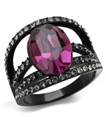 Stainless Steel Ion Black Oval Amethyst Crystal Fashion  Ring, Size 5-10 - $28.99