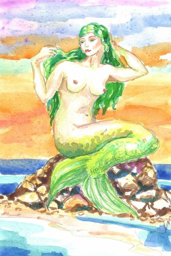 "Akimova: MERMAIDE, girl, sunset, cartoon, insect, watercolor, 6""x3.75"""