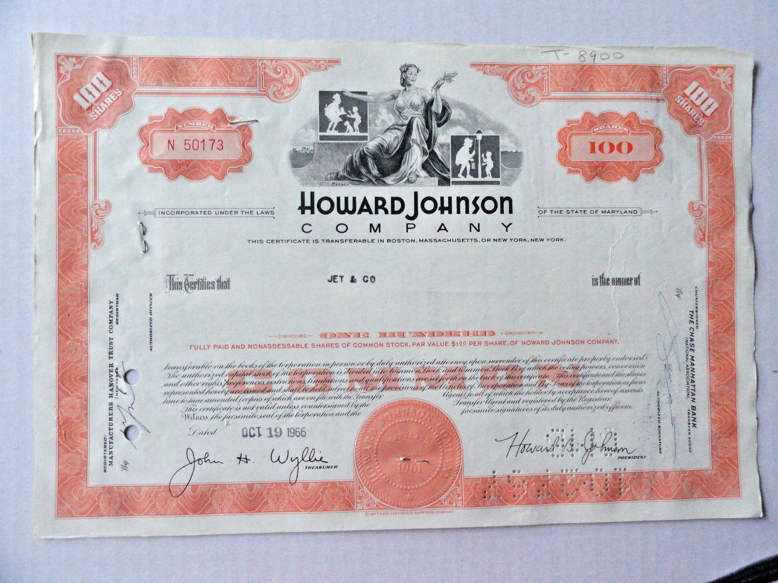87f3359d7 Howard Johnson Company Stock Certificate 100 and 50 similar items