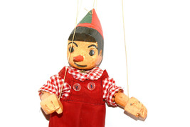 Pinocchio - vintage handmade puppet, wooden toy... - $99.00