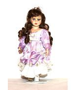 Vintage Collectible Doll - sweet large Porcelain doll, brunette, lilac d... - $39.00