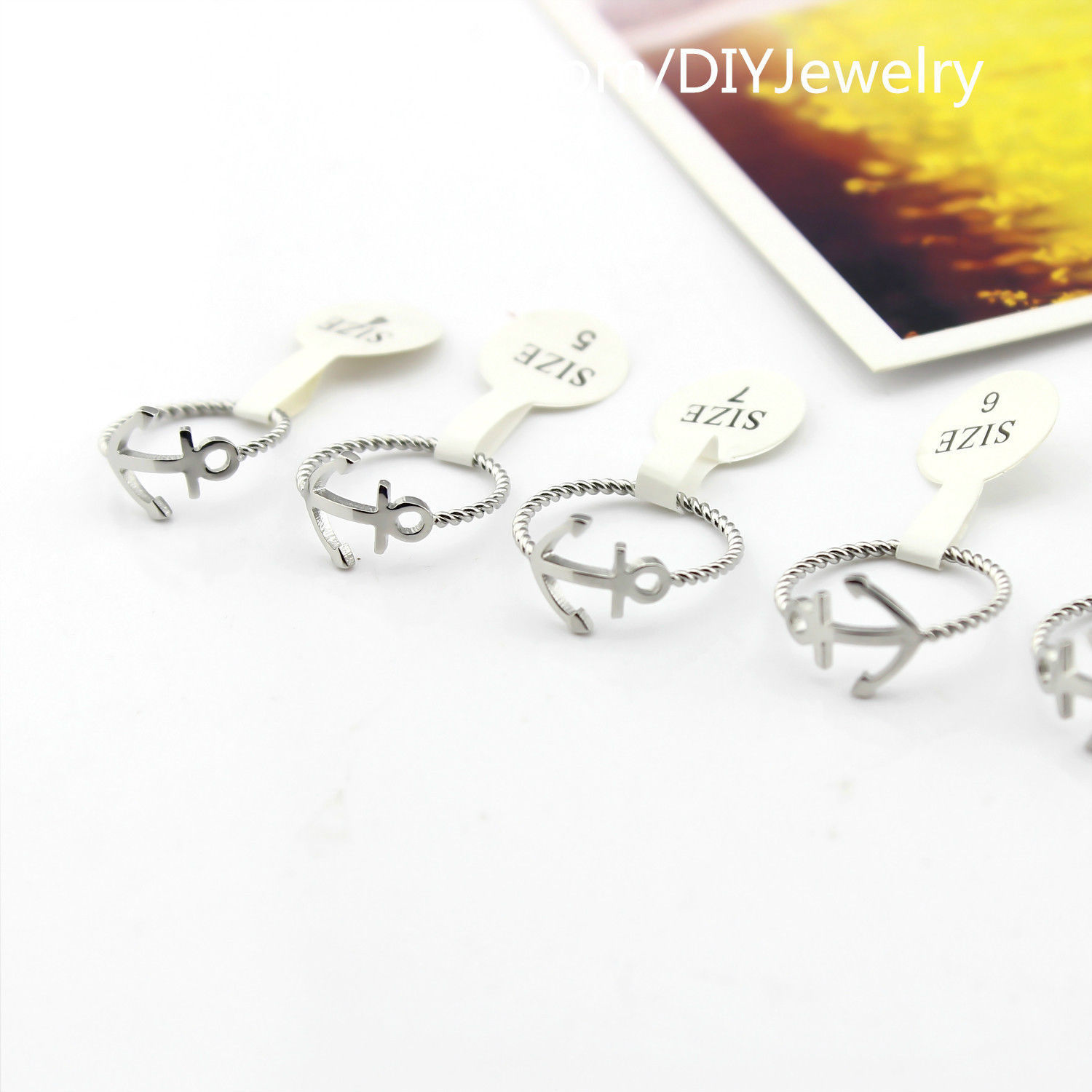 Free Shipping Alloy Silver Plated Anchor Hope Rope Ring Gift Everyday Jewelry