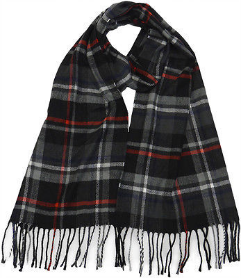 Winter or Fall Cold Weather Irish Plaid Long Cashmere Feel Scarf Black Red KW110