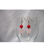 RED ROSE AND PINK HEART EARRINGS - $12.00